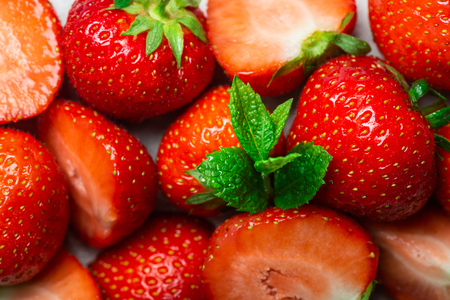 Fresh summer berries such as strawberries, top view Stock Photo