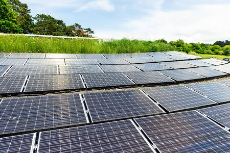 Construction of the Solar panels as alternative electricity source, green power, concept of sustainable resources