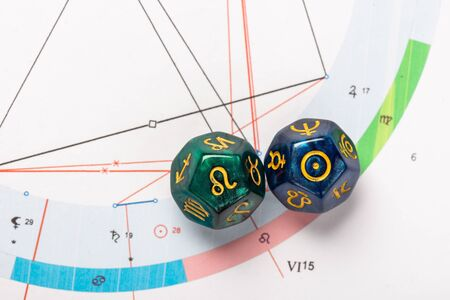 Astrology Dice with zodiac symbol of Leo Jul 23 - Aug 22 and its ruling celestial body the Sun