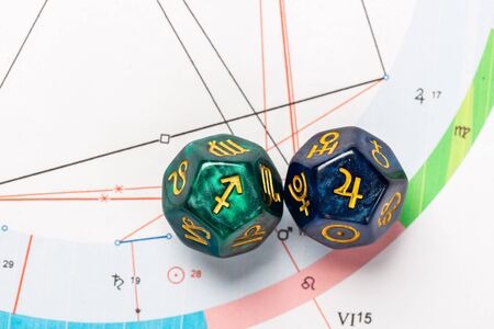 Astrology Dice with zodiac symbol of Sagittarius Nov 22 - Dec 21 and its ruling planet Jupiter
