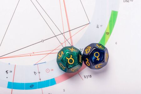 Astrology Dice with zodiac symbol of Taurus Apr 20 - May 20 and its ruling planet Venus