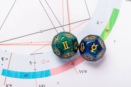 Astrology Dice with zodiac symbol of Gemini May 21 - Jun 20 and its ruling planet Mercury