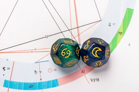 Astrology Dice with zodiac symbol of Cancer Jun 21 - Jul 22 and its ruling celestial body the Moon on Natal Chart Background
