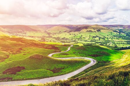 Mam Tor hill near Castleton and Edale in the Peak District National Park, England, UK Stock Photo