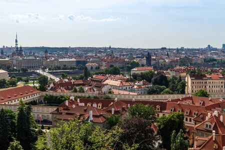 View on Prague panorama with red roofs and historic architecture from staromestska radnice, Old Town Hall, Czech Republic Stock fotó