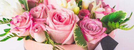 Beautiful and tender bouquet of flowers in the hat box, nice present concept, banner Stock fotó