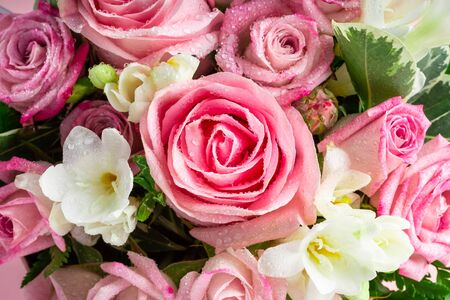 Beautiful and tender bouquet of flowers in the hat box, nice present concept Stock fotó