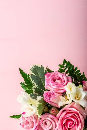 Beautiful and tender bouquet of flowers in the hat box, nice present concept, copy space
