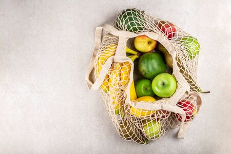 Cotton String Mesh Bag, Reusable Shopping Tote for Grocery with Fruits, Ecological zero waste and say no to plastic concepts