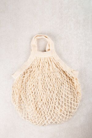 Cotton String Mesh Bag, Reusable Shopping Tote for Grocery, Ecological zero waste and say no to plastic concepts
