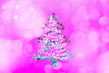 Christmas Tree made from stars on bright pink background