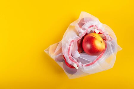 Textile Bags with Peaches, Reusable Shopping Totes for Grocery, Ecological zero waste and say no to plastic concepts