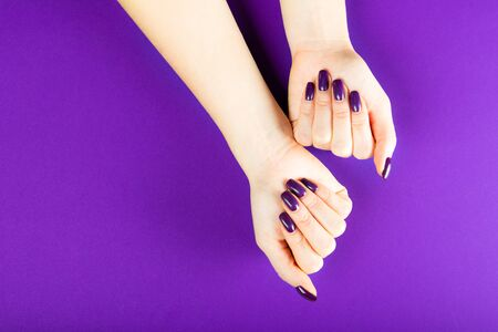 Stylish trendy purple female manicure. Young woman hands on the purple background 写真素材 - 133623700