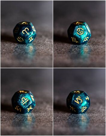 Collage of photos with Astrology Dice representing Cardinal Modality of Astrological Signs. Aries, Cancer, Libra, Capricorn.