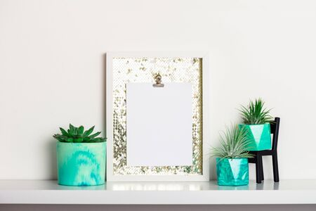 Collection of marbled geometric succulent planters with beautiful tiny succulent plants on white shelf against white wall. Lifestyle home decoration with frame and place for text