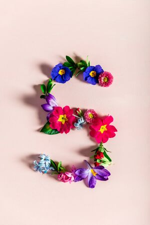 Easter minimal concept. Letter S made from spring flowers on the pink background