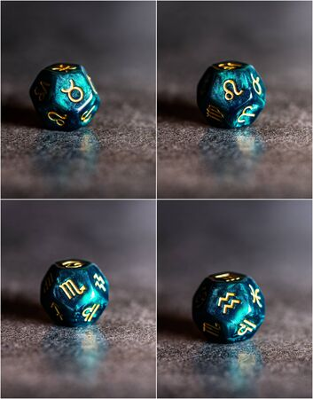 Collage of photos with Astrology Dice representing Fixed Modality of Astrological Signs. Taurus, Leo, Scorpio, Aquarius