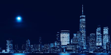 Amazing panorama view on New York City skyline and Downtown Manhattan from Jersey City during night, banner size Reklamní fotografie