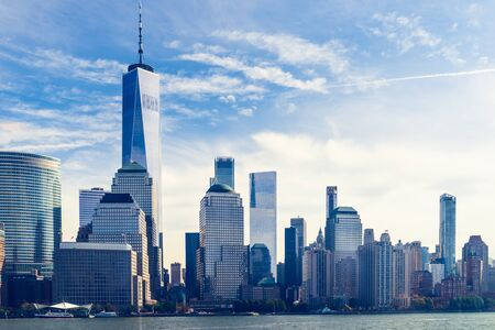 Amazing panorama view on New York City skyline and Downtown Manhattan from Jersey City