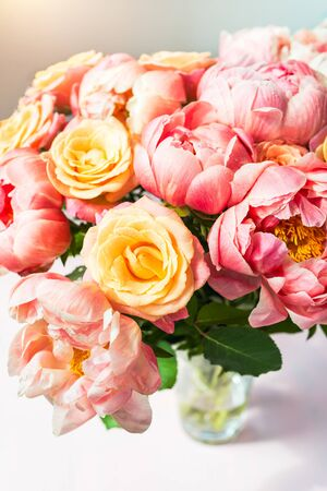 Fresh bunch of pink peonies and roses. Card Concept, pastel colors, close up image, copy space Reklamní fotografie