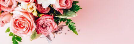 Beautiful and tender bouquet of flowers in the hat box, nice present concept, banner size