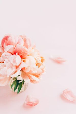 Fresh bunch of pink peonies and roses in a vase on pink background. Card concept, pastel colors, copy space