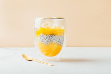 Homemade 4 Ingredient Mango Chia Pudding made with Almond or Coconut Milk in the Double Wall Glass Cups