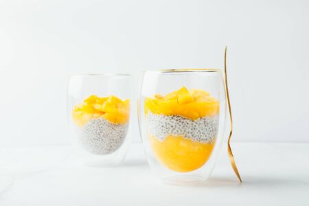 Homemade 4 Ingredient Mango Chia Pudding made with Almond or Coconut Milk in the Double Wall Glass Cups on white background Фото со стока