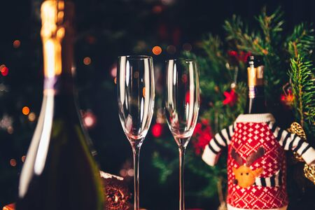 Two empty flute glasses and bottles of champagne in preparation for Xmas or New Year party. One bottle is in the christmas jumper and xmas tree on the background