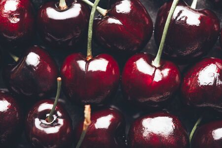Close up image of fresh cherries, summer concept, background image Фото со стока