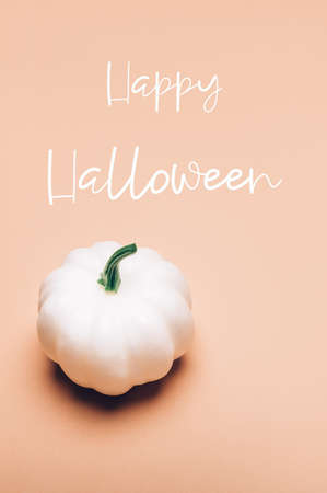 Happy Halloween text. White Pumpkin on light background as minimal autumn concept, flat lay, top view