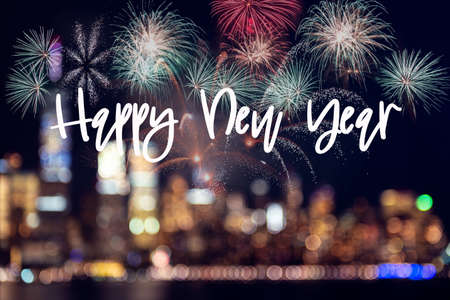 Happy New Year Text on blurry background with fireworks, New Year Night, holiday concept