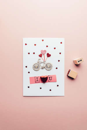 DIY ideas and step by step instructions for making Valentines Card with words I love you, how to make handmade card for beginners, the result