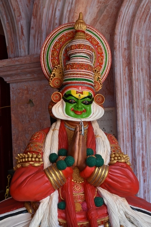 statue in Kerala wearing traditional dress Stock Photo