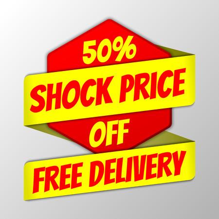 Insignia hexagonal del precio de choque del 50% con tira de cinta Ilustración de vector