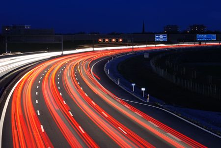 autobahn to munich at night Stock Photo