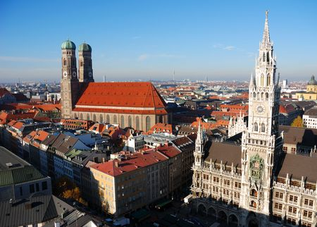 Frauenkirche and town hall Munich Stock Photo