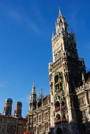 munich town hall with frauenkirche Stock Photo