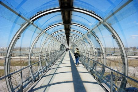 Airport corridor, connection to subway station Standard-Bild