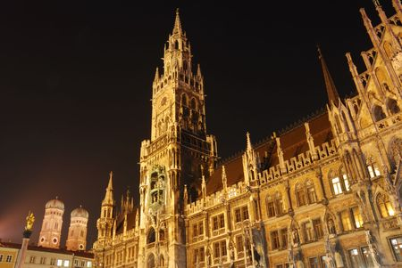 munich town hall and frauenkirche Stock Photo