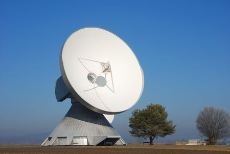 satellite dish with tree Stock Photo