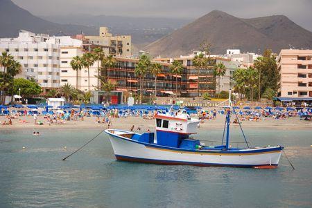 harbor and beach Stock Photo