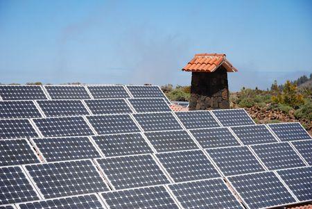 solar panels on mountain hut Stock Photo
