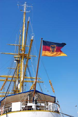 german flag on sailing ship