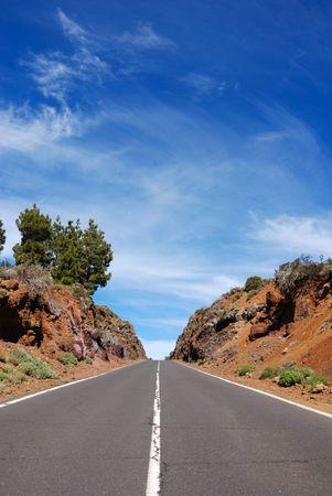 volcanic: road through volcanic landscape Stock Photo