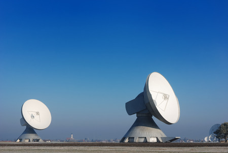 two satellite dishes Stock Photo