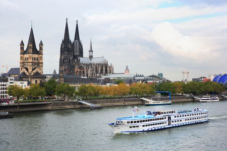 passenger ship at cologne Stock Photo