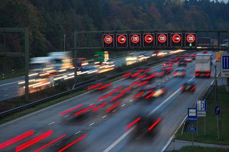 night traffic on autobahn