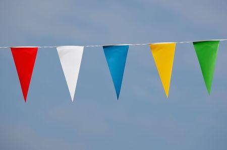 single row of triangle shaped pennants