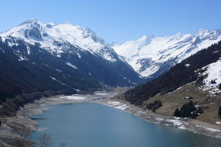 lake and mountain range, european alps